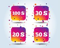 Money in Dollars icons. Hundred, fifty USD. Money in Dollars icons. 100, 20, 30 and 50 USD symbols. Money signs Colour gradient square buttons. Flat design vector illustration