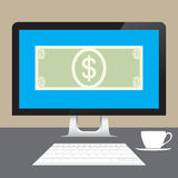 Money Dollars online from desktop computer on table Royalty Free Stock Photography