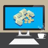 Money Dollars online from desktop computer on table Stock Image