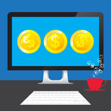 Money Dollars online from desktop computer on table Royalty Free Stock Images