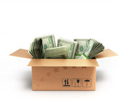 Money dollars packs in a box Royalty Free Stock Photo