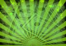 Money. Dollars. Rays and stars background Stock Image