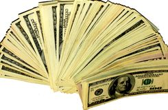 Money dollars spread out on the table like a fan royalty free stock photo