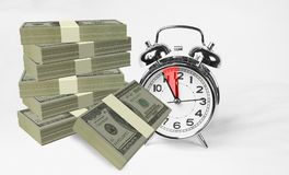 Money dollars time 5 five mintutes only. 3d rendering Royalty Free Stock Images