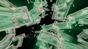 Money Dollars Vortex. $100, $50, $20, $10, $5 and $1 Dollar Bills flying away, green light rays tinted with exact green from the ink. HD 1080 stock video