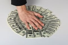 Money dollars wealth millionaire. Money dollars lie on a plate symbolize wealth Royalty Free Stock Photos