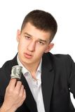Money dollars wealth millionaire. Man shows money dollars wealth millionaire Stock Photography