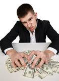 Money dollars wealth millionaire. Man shows money dollars wealth millionaire Stock Photos