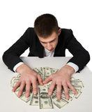 Money dollars wealth millionaire. Man shows money dollars wealth millionaire Stock Images