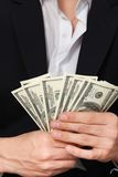 Money dollars wealth millionaire. Man shows money dollars wealth millionaire Royalty Free Stock Image