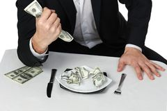 Money dollars wealth millionaire. Man shows money dollars wealth millionaire Stock Photo