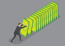 Money Domino Effect Vector Cartoon Illustration. Businessman pushing money cards setting off falling chain reaction. Creative vector cartoon illustration for Royalty Free Stock Images
