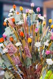 Money donate by buddhist for holy buddha day Thailand stock photos