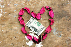 Money donation in heart design Royalty Free Stock Images