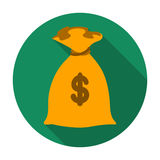 Money donation icon in flat style isolated on white background.  Royalty Free Stock Photos