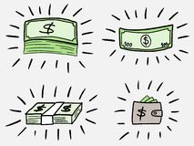Money doodle. Business doodle illustration - sketchy style money icons. Banknotes and wallet Royalty Free Stock Images