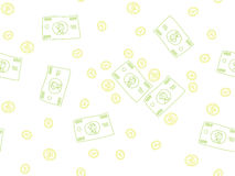 Money doodle pattern Royalty Free Stock Photo