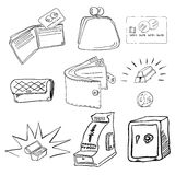 Money doodle set. Vector illustration Royalty Free Stock Photo