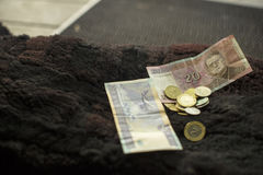 Money on a doorstep. Royalty Free Stock Photo