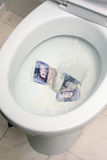 Money down the drain. The act of Flushing money down the toilet Stock Images