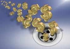 Money down the drain royalty free illustration