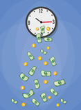Money drop from watch. Money dollars and coins drop from watch. income concept, time is money. vector illustration in flat design on blue background Stock Photos