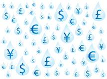 Money on drops. Illustration of money on drops, blue Stock Photo