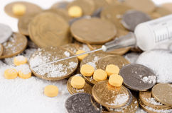 Money and drugs. Close-up money and drugs Stock Photos