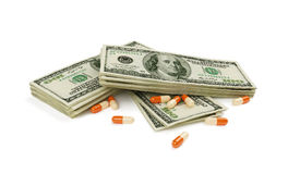 Money and drugs. Tablets for the large money Stock Photo