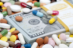 Money and drugs stock image