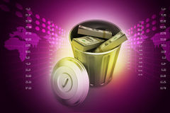 Money in dustbin Royalty Free Stock Photography