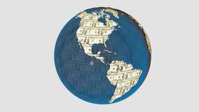 Money earth. American dolar texture on the earth Royalty Free Stock Photos