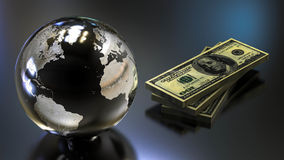 Money Earth. 3D render image representing earth planet with a stack of money Royalty Free Stock Photography