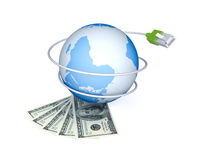 Money, Earth and patchkord. Stock Image