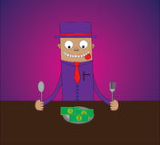 Money Eater. A man with hat ready to eat a plate of money on table Royalty Free Stock Image