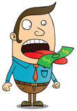 Money eater. A man with money on his tongue. eps 8 file Stock Images