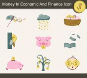 Money In Economic And Finance Icon - Vector. Money In Economic And Finance Icon for decoration artwork about finance or economy - Vector royalty free illustration