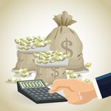 Money economy and commerce design. Bag calculator and bills icon. Money economy commerce and market theme.  design. Vector illustration Stock Images