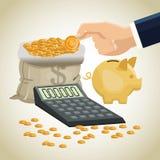 Money economy and commerce design. Bag calculator piggy and coins icon. Money economy commerce and market theme.  design. Vector illustration Stock Image