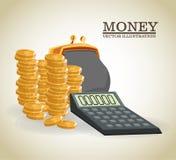 Money economy and commerce design. Bag purse calculator and coins icon. Money economy commerce and market theme.  design. Vector illustration Stock Image