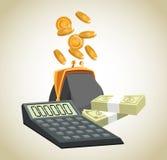 Money economy and commerce design. Purse calculator coins and bills icon. Money economy commerce and market theme.  design. Vector illustration Stock Photography