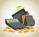 Money economy and commerce design. Purse wallet calculator coins and bills icon. Money economy commerce and market theme.  design. Vector illustration Royalty Free Stock Photos