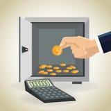 Money economy and commerce design. Strongbox calculator and coins icon. Money economy commerce and market theme.  design. Vector illustration Stock Photo