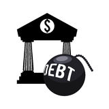 Money economy and financial item. Bank and bomb debt icon. Money financial and economy theme. Isolated design. Vector illustration Stock Image
