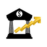 Money economy and financial item. Bank and growth arrow icon. Money financial and economy theme. Isolated design. Vector illustration Royalty Free Stock Images