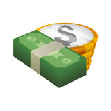 Money economy and financial item. Bills and coins icon. Money financial and economy theme. Isolated design. Vector illustration Stock Photos