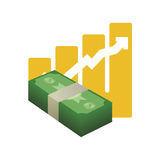 Money economy and financial item. Bills and growth arrow icon. Money financial and economy theme. Isolated design. Vector illustration Royalty Free Stock Photography