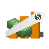 Money economy and financial item. Bills and growth arrow icon. Money financial and economy theme. Isolated design. Vector illustration Stock Images