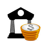Money economy and financial item. Coins and bank icon. Money financial and economy theme. Isolated design. Vector illustration Royalty Free Stock Image