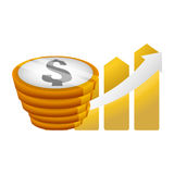 Money economy and financial item. Coins and growth arrow icon. Money financial and economy theme. Isolated design. Vector illustration Stock Photos